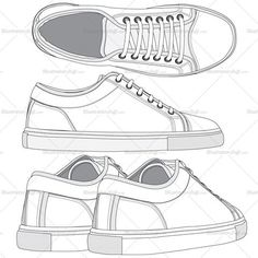 Women's sneaker fashion flat vector templates. Made with all details in 3 different views easy to edit and modify and colored as required. This file also consists of repetitive pattern and pattern brush.