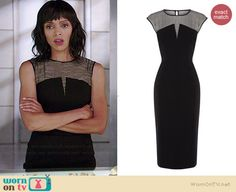 Camille's black sleeveless dress with striped panel on Bones.  Outfit Details: http://wornontv.net/38517/ #Bones