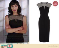 Camille's black sleeveless dress with striped panel on Bones.  Outfit Details: http://wornontv.net/38517/ #Bones