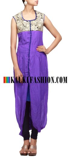 Buy Online from the link below. We ship worldwide (Free Shipping over US$100) http://www.kalkifashion.com/blue-kurti-with-embroidered-yoke.html Blue kurti with embroidered yoke
