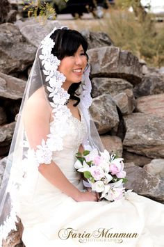 Mantilla veil 42 fingertip length with wide white by julesveils, $80.00