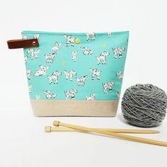 Small Aqua Little Lambs Bag Yarn Project Bag by ellisonlane