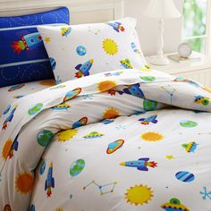 Out of This World Duvet Cover -  for a sleepy little space explorer this is an adorable look in #kids #bedding. $74.99