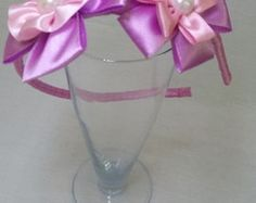 Tiara flor de fita de cetim