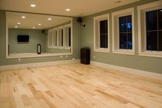 Nice light hardwood for a workout room. Beautiful variation.