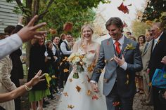For you Fall brides out there/ fall leaves instead of rice or confetti ...