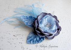 Blue Bridal Wedding Hair Flower   Hair Clip  by MikiyeCreations,