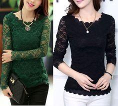 Fashion Women Long Sleeve Shirt Casual Lace Blouse Loose Cotton Tops T Shirt…