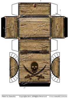 Its a Pirate Treasure Chest Box Template you can Print and Assemble… Pirate Day, Pirate Birthday, Pirate Theme, Diy Birthday, Birthday Parties, Pirate Treasure Chest, Treasure Boxes, Treasure Chest Craft, Pirate Crafts
