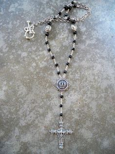 black crown fleur de lis cross rosary