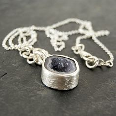 One of a Kind  Purple Geode Necklace in Sterling Silver by anatomi