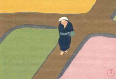 "Artist Kamisaka Sekka (1866~1942) Japanese Woodblock Print Name # 9 Field of spring Approx Image Size Height 30.40 cm x Width 46.00 cm (H 11.97"" x W 18.11"")"
