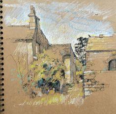 Urban Sketcher Pat Southern-Pearce from U.K.  Brown kraft paper, colored pencils...always amazing work
