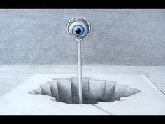Sorprendente dibujo en 3D - Ilusión óptica, ojo en 3D