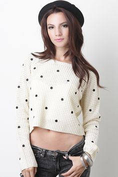 Show off your love for polka dots with the Taken By Dots Sweater. This longs sleeve sweater features a rounded neckline with soft stretch knit, crop and relax fit, finished with polka dot stitching.