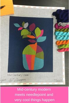 Mid century modern meets contemporary needlepoint for an easy and fun project. #midcenturymodern