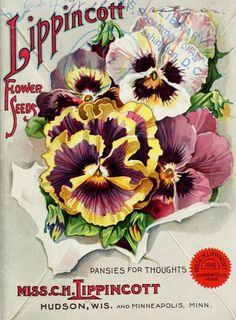 Pansies for Thoughts.' Illustrated front cover of Lippincott Flower Seeds Miss C. Hudson, Wis, and Minneapolis, Minn. Flower Catalogs, Garden Catalogs, Seed Catalogs, Vintage Labels, Vintage Ephemera, Vintage Cards, Vintage Postcards, Art Vintage, Vintage Prints