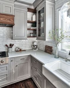Uplifting Kitchen Remodeling Choosing Your New Kitchen Cabinets Ideas. Delightful Kitchen Remodeling Choosing Your New Kitchen Cabinets Ideas. Grey Kitchen Cabinets, Kitchen Cabinet Design, Kitchen Redo, Interior Design Kitchen, New Kitchen, Kitchen Shelves, Kitchen Ideas, Kitchen Backsplash, Dark Cabinets
