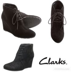 """Clarks Black Suede Wedge Lace Up Boots Leather Rubber sole Shaft measures approximately 5.5"""" from arch Heel measures approximately 2.75"""" Almond-toe bootie featuring wedge heel and lace-up vamp Active Air technology Ortholite insole. Worn just 2/3 times. There are minimum signs of wear on the heels. Look like new. More pics coming soon. Clarks Shoes Ankle Boots & Booties"""