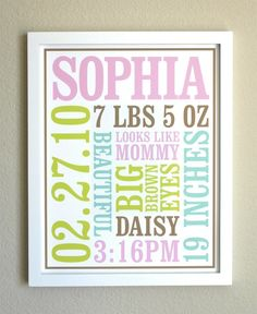 Custom+Baby+Birth+Poster+Style+1+by+Chaiv+on+Etsy,+$40.00