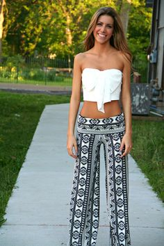 Black and White Aztec Yoga Pants