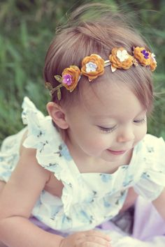 ETSY- Mustard Purple Gold Flower Crown Headband  Baby by georgiaandjane, $18.00