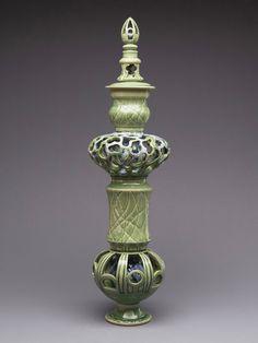 Jason A. Piccoli, bird bath pedestal-- carved portions solve problem of closed sphere (avoiding explosions)