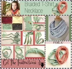 DIY Braided T-Shirt Necklace DIY Crafts