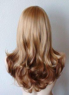 Golden blonde / honey blonde Ombre wig. Long curly by kekeshop