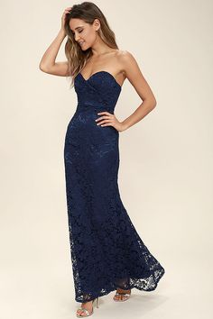 For Infinity Navy Blue Strapless Maxi Dress | Dress for you, Shape ...
