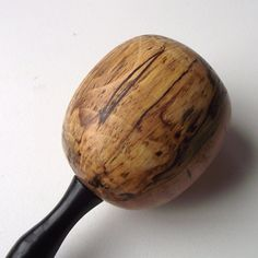 Wooden Darning Egg - Hand Turned Spalted Maple Wood Darning Egg with Ebony Handle - Eco-friendly