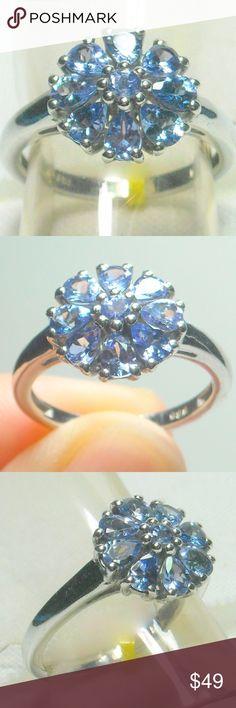 NWT Natural Tanzanite Ring Natural Tanzanite Ring, Platinum Plated .925 Sterling Silver Size 6 Jewelry Rings