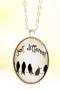 Just Different Oval Pendant Bird Necklace Art by LadyArtTalk