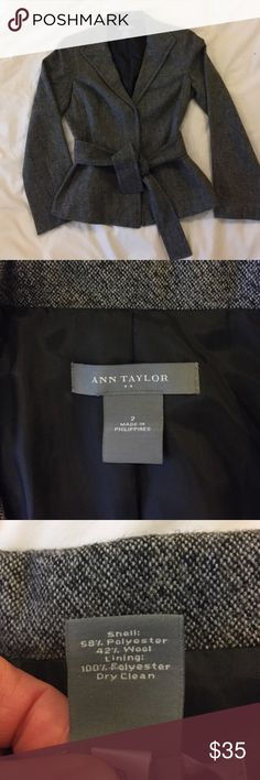 "Ann Taylor Wool Blend Belted Blazer NEW without tags, never worn! Cute belted blazer, great for the office. Wool blend (see pic #3), fully lined. Charcoal gray. 2 snaps for closure. Chest width approx 18"", sleeve length approx 17.5"" from armpit. Ann Taylor Jackets & Coats Blazers"
