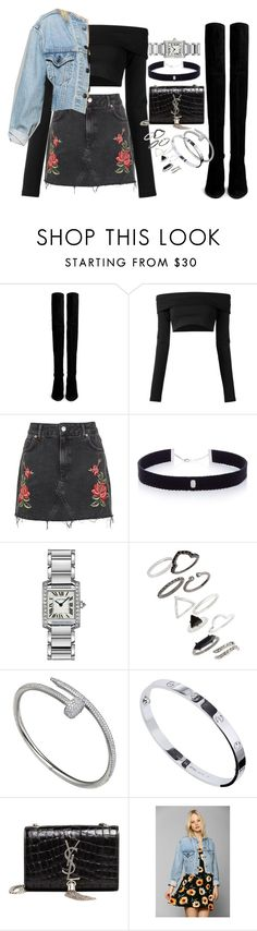 """""""Untitled #1471"""" by leylasstyle ❤ liked on Polyvore featuring Stuart Weitzman, Puma, Topshop, AS29, Cartier, Yves Saint Laurent and Urban Renewal"""