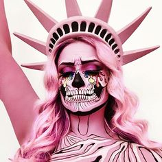 FOLLOW  Unicorn Glow   Instagram - @tunikatalks_  2nd pinterest- LilacCryBaby  Lady Liberty skull makeup via @the_wigs_and_makeup_manager