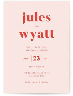 Bold And Typographic, Modern Yet Classic. Orange Wedding Invitations From Minted By Independent Artist Annie Clark. Typography Invitation, Invitation Layout, Stationery Design, Branding Design, Bakery Branding, Logo Design, Orange Wedding Invitations, Wedding Favor Tags, Online Invitations