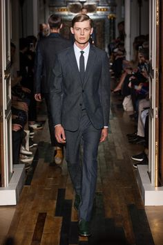 Valentino Spring / Summer 2014 men's  Like the green shoes/style.  Jacket shoulder and taper to waist fit this model well.