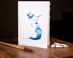WATERCOLOUR Card, Original Hand Painted Snowman, Christmas Art gift, watercolor christmas gift, original, one of a kind