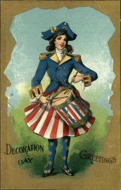 DECORATION DAY Patriotic Majorette Girl in Red White & Blue c1910 Postcard