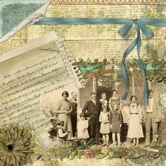 A family group photo is highlighted on this monochromatic layout with a faded newsprint background. Hand written journaling on an old piece of notebook paper adds a personal touch.
