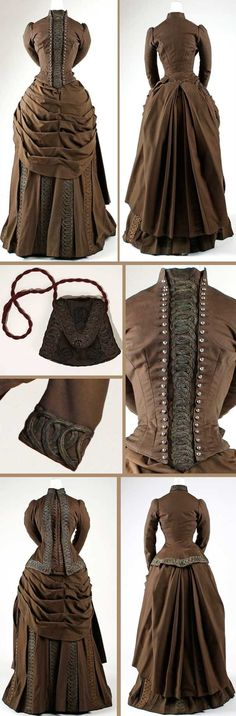 Dress Ensemble - Wool, silk, cotton, and metallic thread - House of Redfern - Paris, France - c. 1880s Fashion, Edwardian Fashion, Vintage Fashion, Victorian Gown, Victorian Costume, Vintage Outfits, Vintage Gowns, Moda Vintage, Vintage Mode