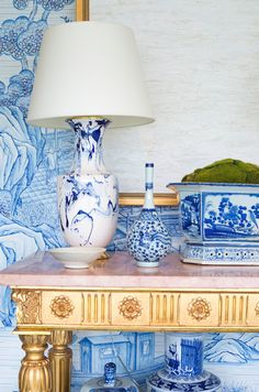 In LOVE with this lamp!! Saturday Inspiration - Blue and White Marbled Lamp chinoiserie chic - chinese style gold marble pink blue design decor interior