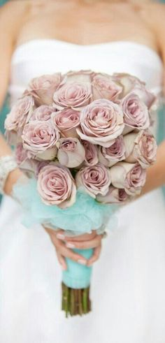 "Truly Stunning ""Ballerina Bouquet"" Of Amnesia Roses A Top A Cloud Of Tiffany Blue Tulle****"