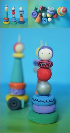 DIY Whimsical Wooden Stacking Dolls. These handmade stacking dolls are a whimsical take on the traditional stacked toys. Kids can play around with shapes, colors and patterns to create little personalized works of art.