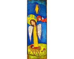 Nativity Stars with Angels   Original Painting on by FlorLarios