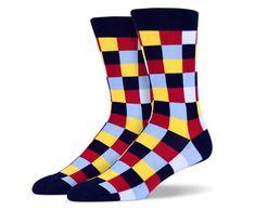 Black Red Yellow Blue Square Socks