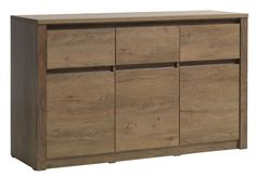 Dressoir VEDDE 3 deurs wild eik | JYSK Oak Sideboard, Samos, Plastic Sheets, Particle Board, Petra, Budapest, Drawers, Vase, Furniture