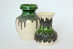 Fat Lava Vase West German Pottery Green by LoveMyVintageBazaar, €55.00