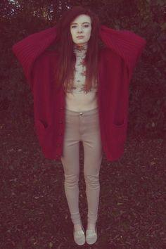 maroon thrift cardigan